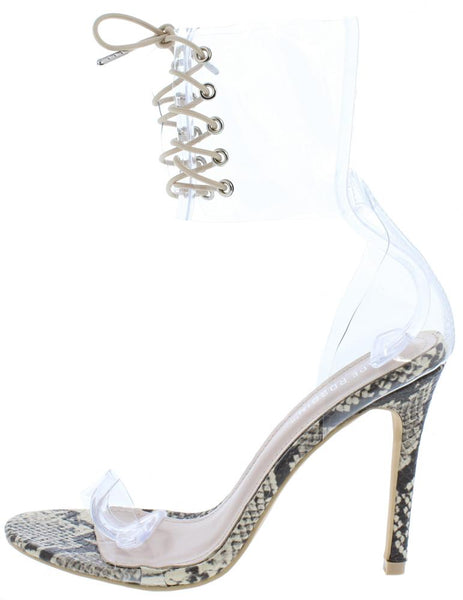 Passion Snake Lucite Ankle Lace Up Boot
