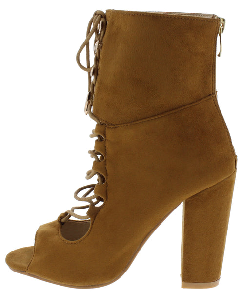 Pear3 Camel Peep Toe Lace Up Extended Ankle Boot - Wholesale Fashion Shoes