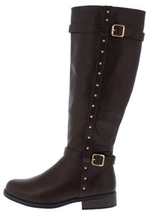 Pilot54s Brown Dual Buckle Studded Knee High Boot