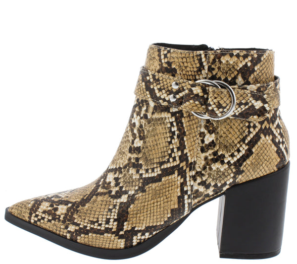 Planner19a Beige Brown Snake Pu Women's Boot - Wholesale Fashion Shoes