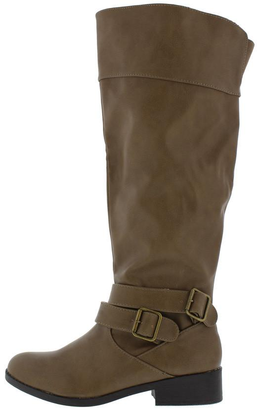 Plateau67a Taupe Double Buckle Suede Knee High Boot - Wholesale Fashion Shoes ?id=19888975181