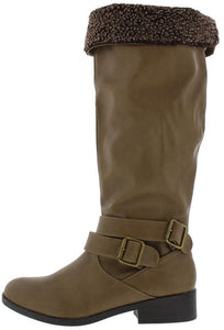 Plateau67a Taupe Double Buckle Suede Knee High Boot - Wholesale Fashion Shoes ?id=19888976973