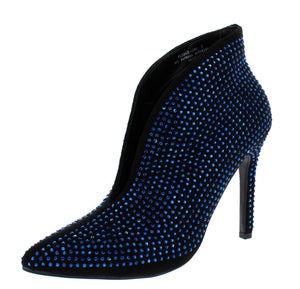 Pledge29s Black Blue Embellished Pointed Toe Boot - Wholesale Fashion Shoes ?id=13793079722028