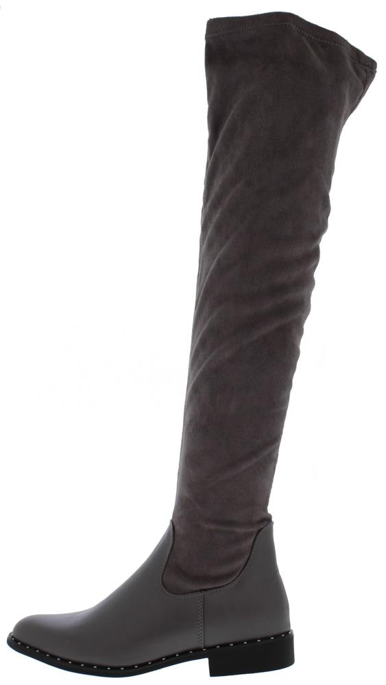 Preppy14m Grey Round Toe Over The Knee Boot