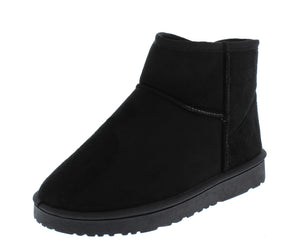 R001011 Black Sherpa Lug Sole Pull On Ankle Boot