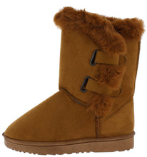 Load image into Gallery viewer, Adele297 Camel Faux Fur Lined Dual Strap Lug Boot