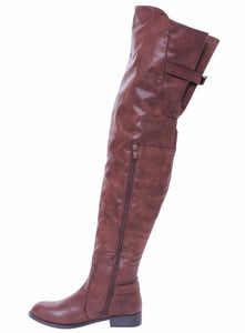 Renee13 Brown Pu Thigh High Riding Boot