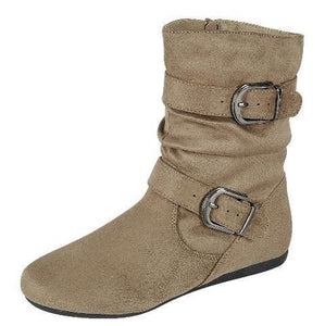 Rachel17 Taupe Slouchy Side Buckle Ankle Boot - Wholesale Fashion Shoes