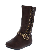Load image into Gallery viewer, Rachel65k Brown Side Lace Up Buckle Strap Kids Boot