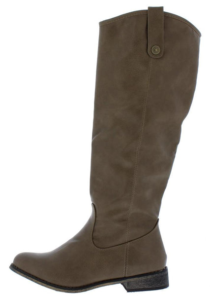 Racho01kh Beige Almond Toe Knee High Riding Boot