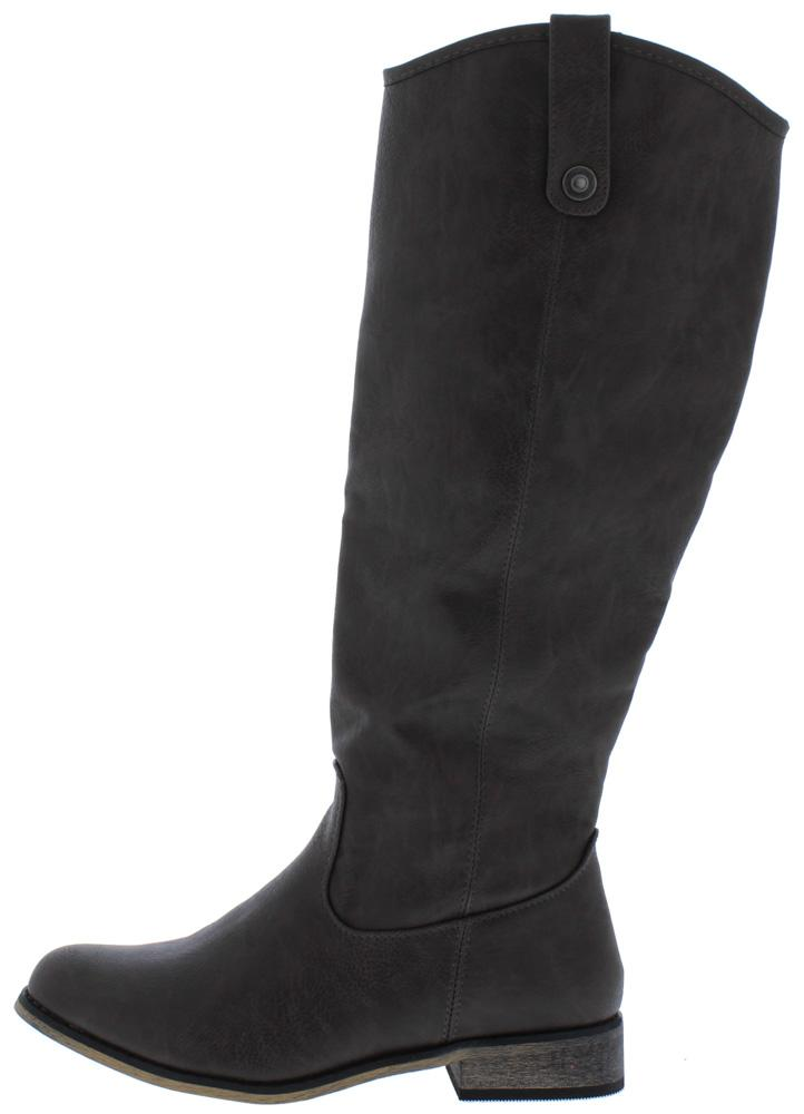 Racho01kh Grey Almond Toe Knee High Riding Boot