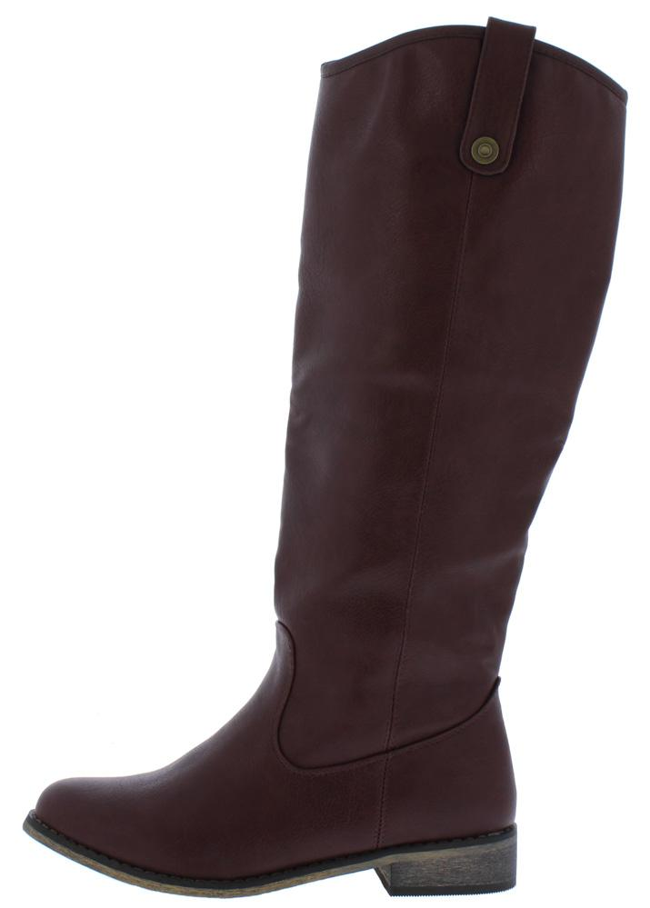 Racho01kh Red Almond Toe Knee High Riding Boot