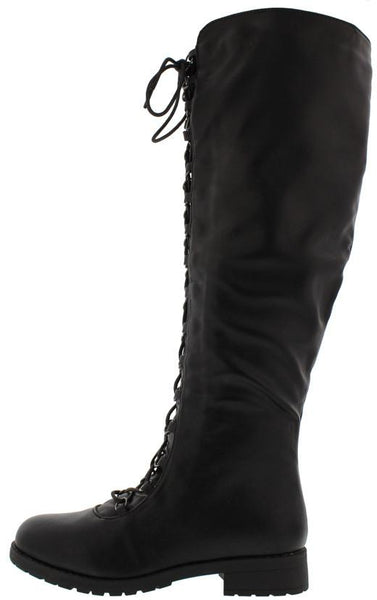 Travis05b Black Pu Lug Sole Front Lace Up Knee High Boot