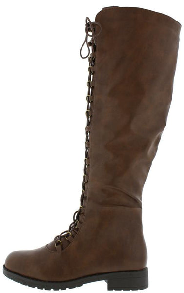Travis05b Brown Pu Lug Sole Front Lace Up Knee High Boot