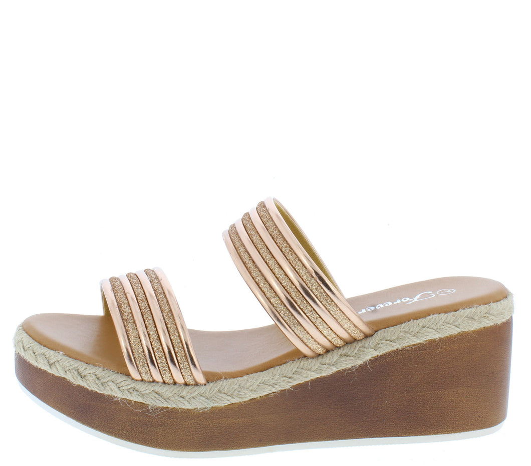 Rich2 Rose Gold Women's Wedge - Wholesale Fashion Shoes