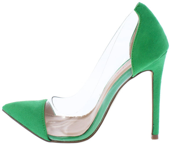 Ricky11 Green Pointed Toe Lucite Stiletto Pump Heel