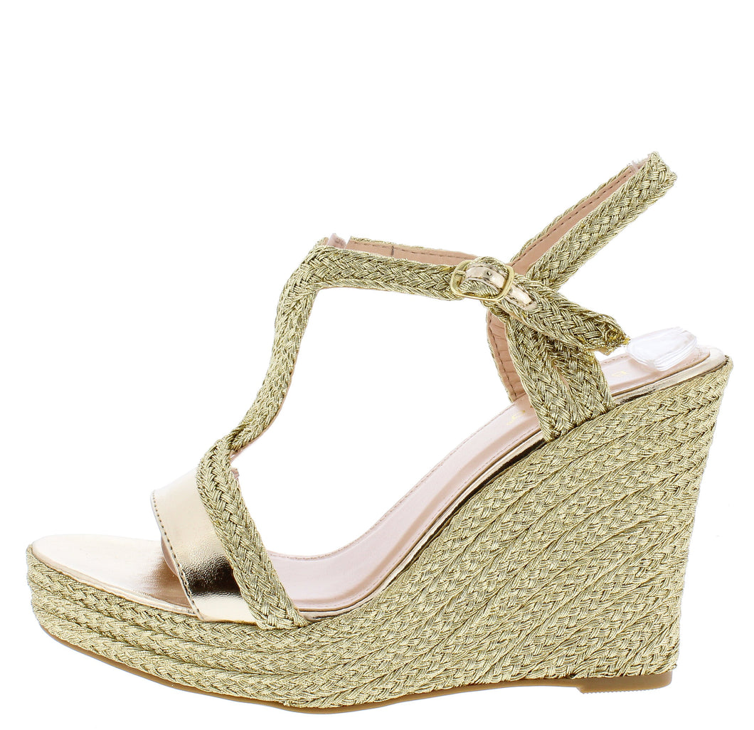 Rina02 Gold Women's Wedge - Wholesale Fashion Shoes