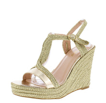 Load image into Gallery viewer, Rina02 Gold Women's Wedge - Wholesale Fashion Shoes