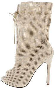 Sarah10 Nude Open Toe Extended Shaft Perforated Stiletto Heel Ankle Boot