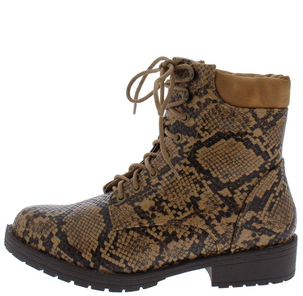 Roadside Brown Snake Lace Up Lug Sole Boot
