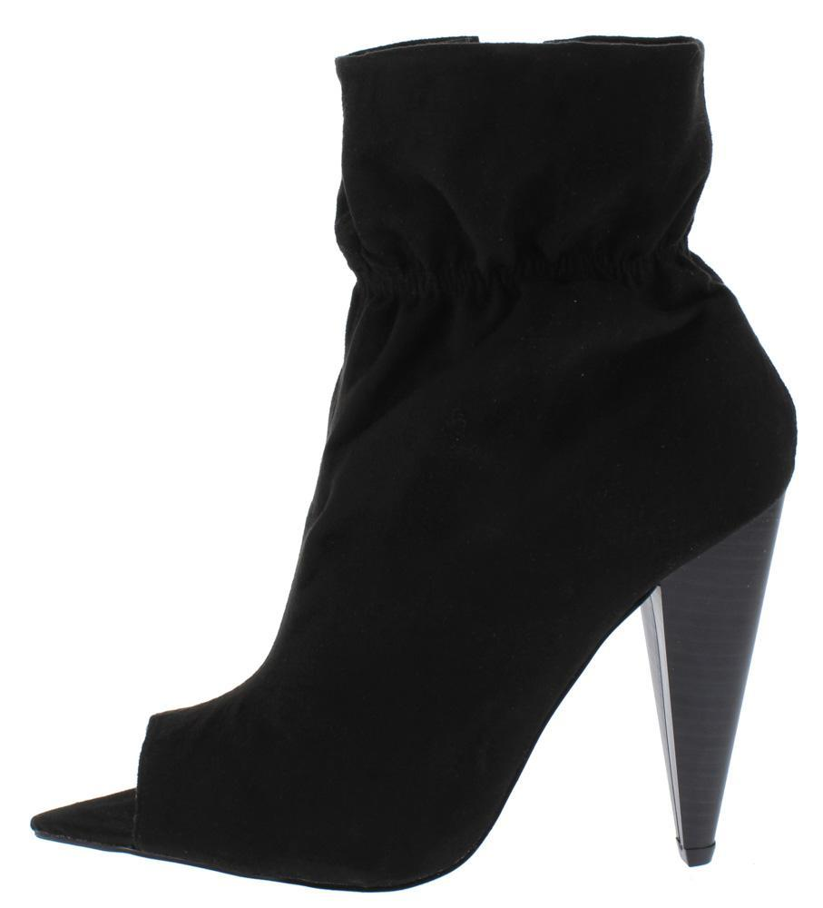 Romo Black Pointed Peep Toe Tapered Heel Ankle Boot - Wholesale Fashion Shoes ?id=13327799975980