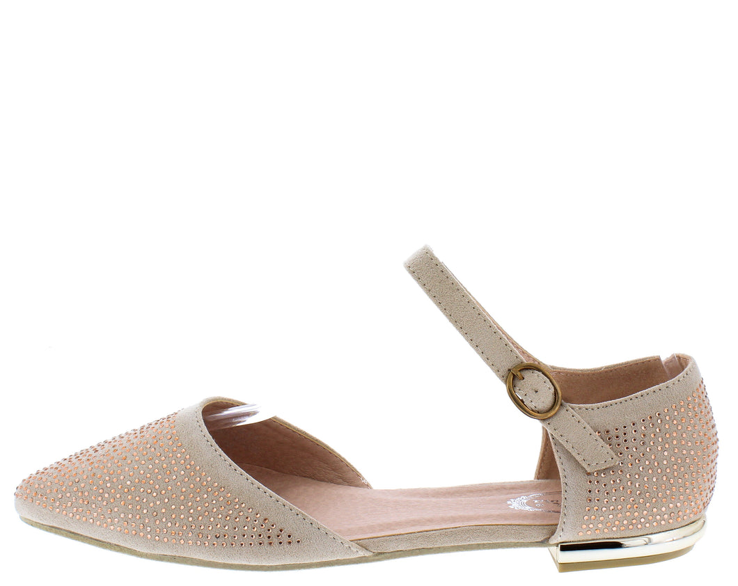 Elizabeth169 Peach Pointed To Ankle Strap Dorsay Flat