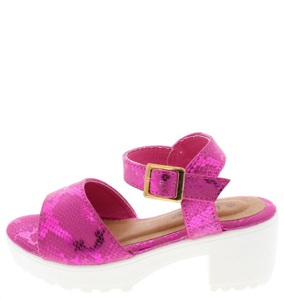 Sport87k Fuchsia Python Lug Sole Kids Shoes