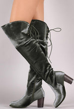 Load image into Gallery viewer, Steve Grey Velvet Lace Up Chunky Heel Boot