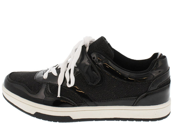 Surge01 Black Patent Lace Up Sneaker Flat
