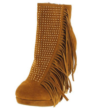 Load image into Gallery viewer, Sacha Tan Rhinestone Fringe Ankle Boot