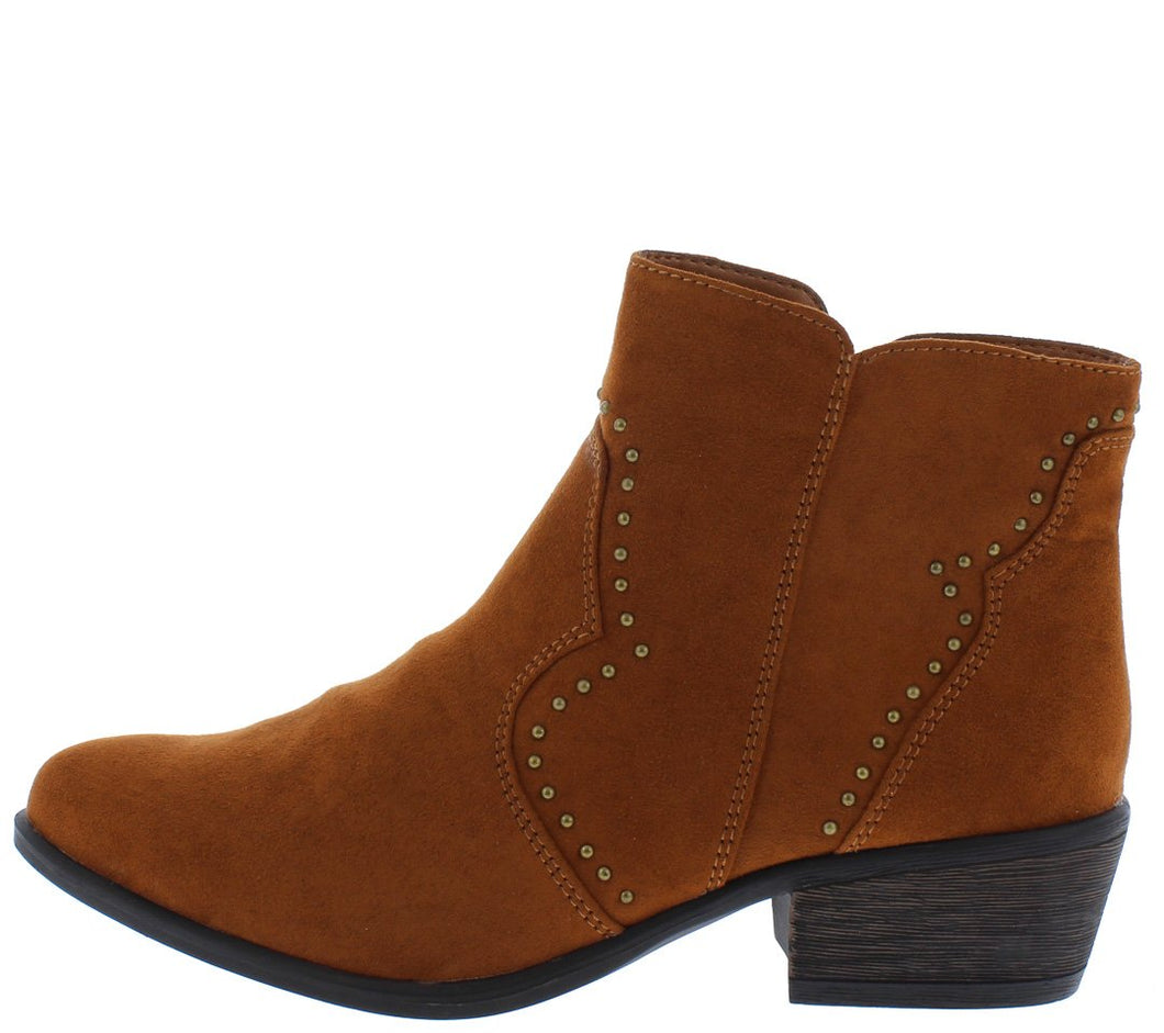 Sadie68s Chestnut Stud Lined Short Heel Ankle Boot