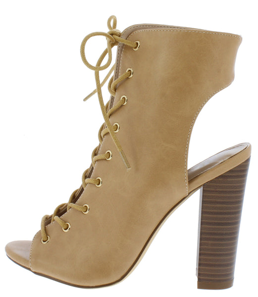 Jaleesa Beige Open Toe Exposed Heel Lace Up Chunky Heel Ankle Boot