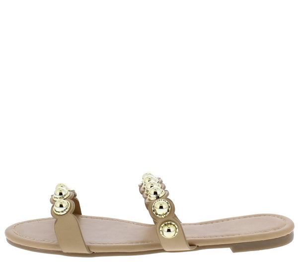 Madison126 Nude Pu Open Toe Studded Dual Strap Sandal
