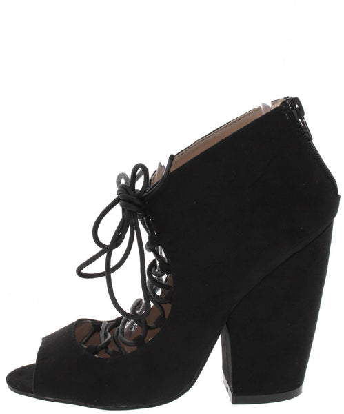 Sawyer05 Black Lace Up Peep Toe Ankle Boot