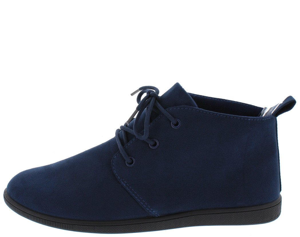 SCALA02 NAVY SLIGHT EXTENDED SHAFT LACE UP SNEAKER FLAT - Wholesale Fashion Shoes ?id=17601917185