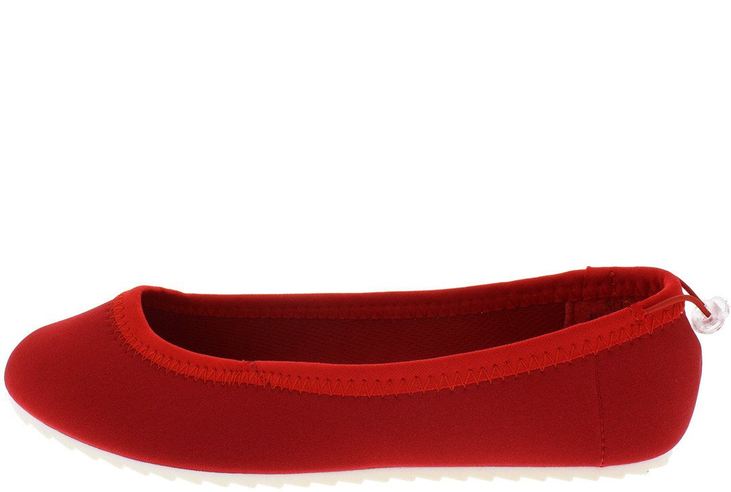 Scuba Red Lycra White Sole Flat - Wholesale Fashion Shoes ?id=11557827201