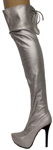 Sheryl06 Silver Metallic Thigh High Lace Up Platform Boots