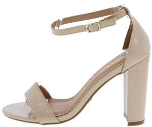 Shirley1 Nude Patent Open Toe Ankle Strap Tapered Block Heel