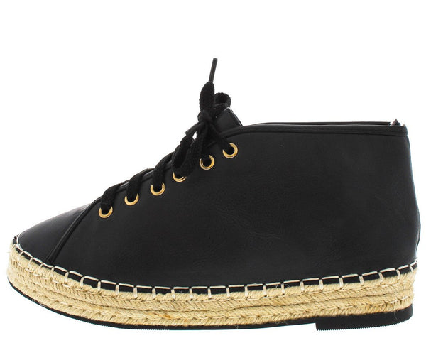 Skylar2 Black Espadrille Lace Up Sneaker Flat