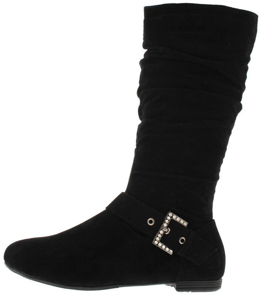 Smartty001 Black Su Slouchy Mid Calf Boot