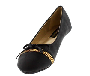 Sonya2 Black Studded Strip Bow Ballet Flat