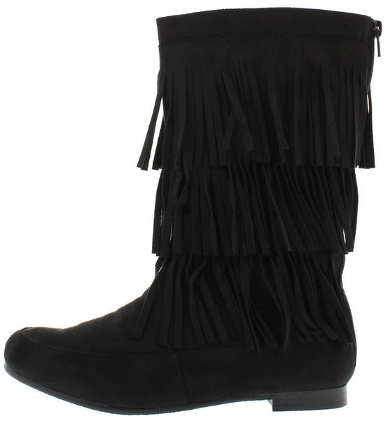 Starcy88a Black 3 Tier Fringe Mid Calf Boot