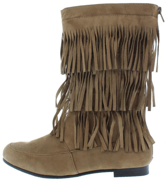 Starcy88a Taupe 3 Tier Fringe Mid Calf Boot