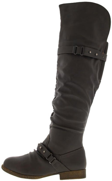 Step22 Brown Slouchy Over the Knee Riding Boot