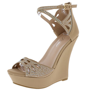 Stephy37 Taupe Women's Wedge - Wholesale Fashion Shoes