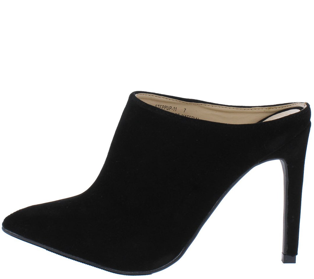 Steppup11 Black Pointed Toe Stiletto Mule Heel - Wholesale Fashion Shoes ?id=6066075762753