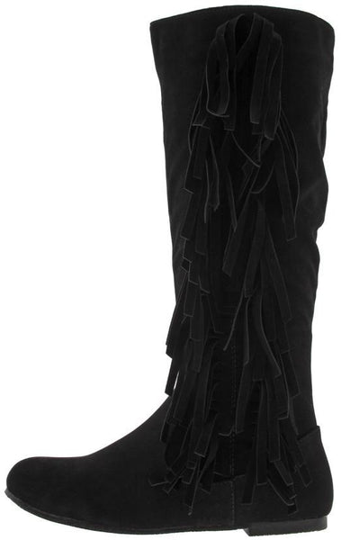 Stevie20 Black Fringe Side Flat Boot