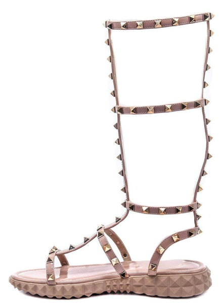 Thorn Nude Stud Caged Open Toe Gladiator Boot
