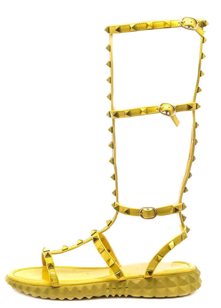 Thorn Yellow Stud Caged Open Toe Gladiator Boot