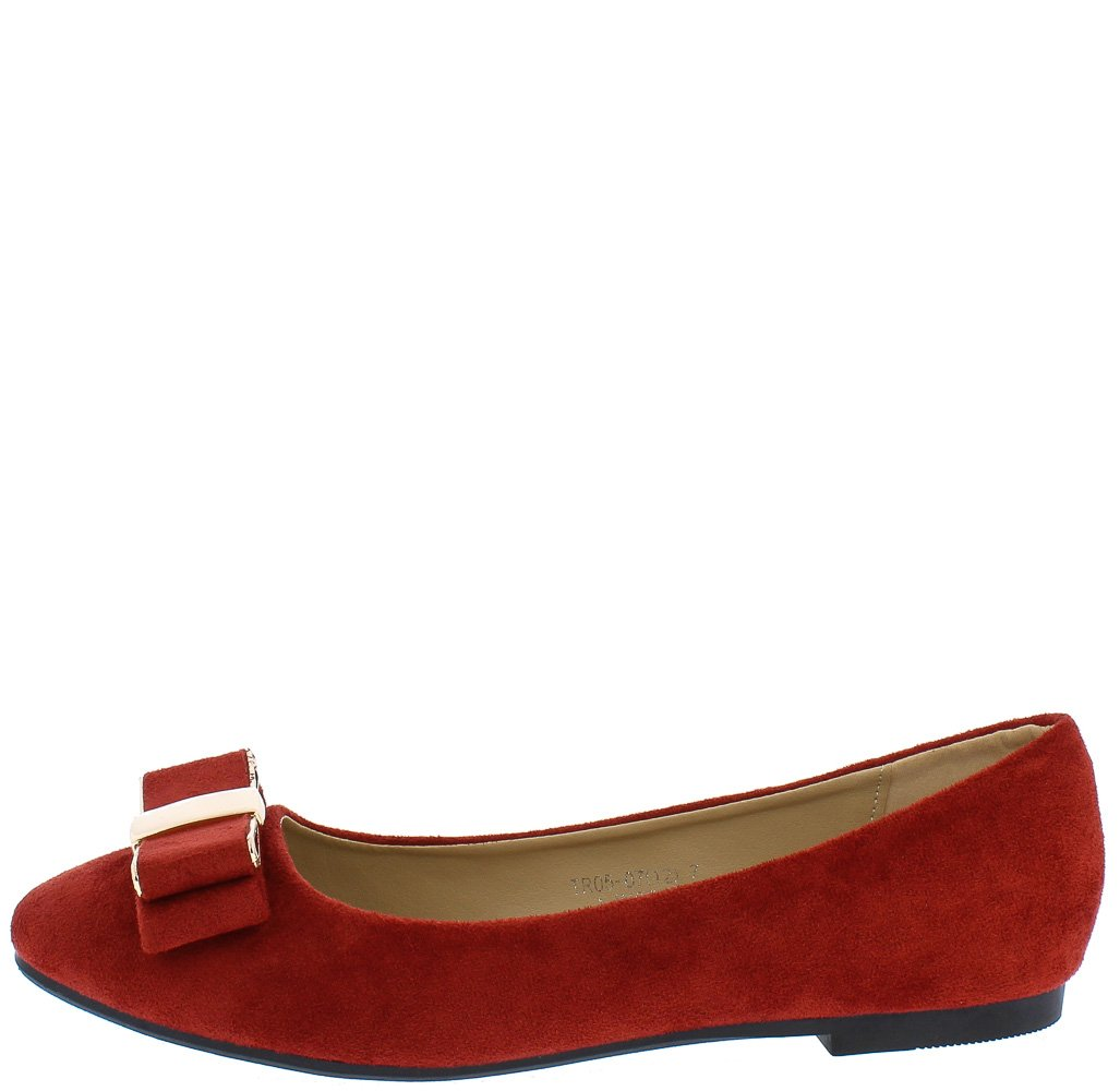 Tr0507 Burgundy Suede Gold Metallic Double Bow Ballet Flat